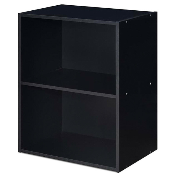 2 Tier Open Night Stand End Table Sofa Side Storage Furniture-Black HW63402BK