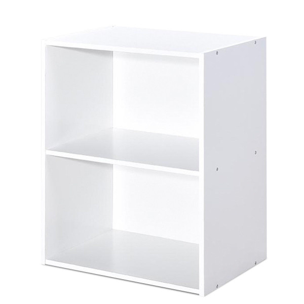 2 Tier Open Night Stand End Table Sofa Side Storage Furniture-White HW63402WH