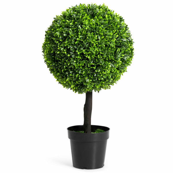 "24"" Artificial Boxwood Topiary Decorative Ball Tree HW61435"