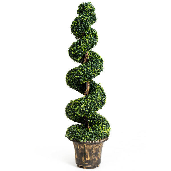4-Feet Artificial Boxwood Spiral Green Leaves Tree HW61436