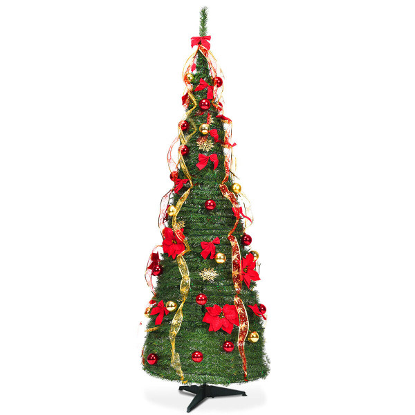 6 Ft Pre-Lit Spruce Christmas Tree With Light And Ribbon CM22050