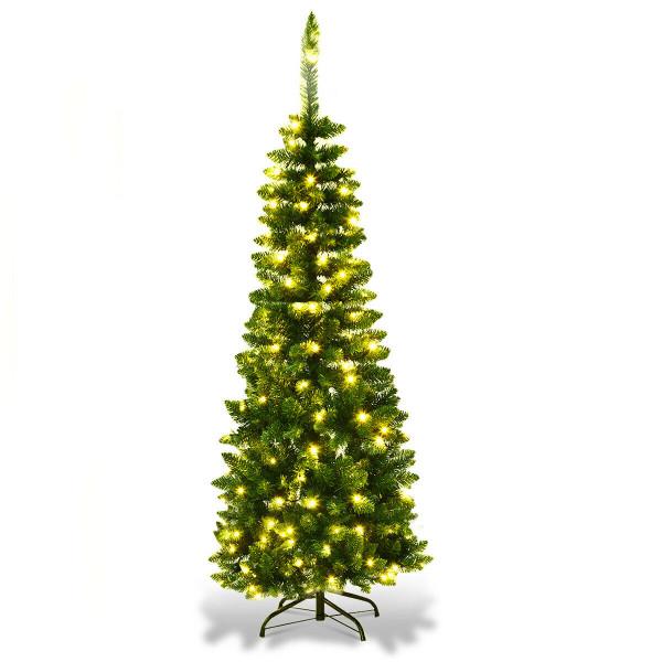 4.5 Ft Pre-Lit Hinged Artificial Fir Pencil Christmas Tree-Warm White CM22070