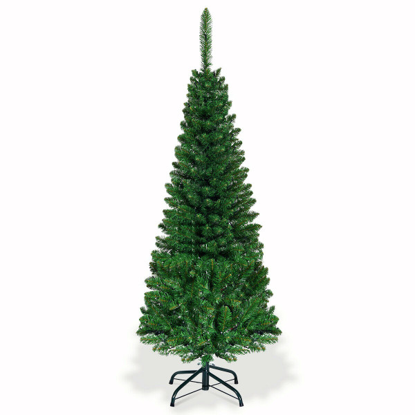 4.5 Ft Pre-Lit Hinged Artificial Fir Pencil Christmas Tree-Multicolor CM22073