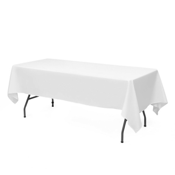 """10 Pcs 90"""" X 156"""" Rectangle Polyester Tablecloth-White HT1050WH"""