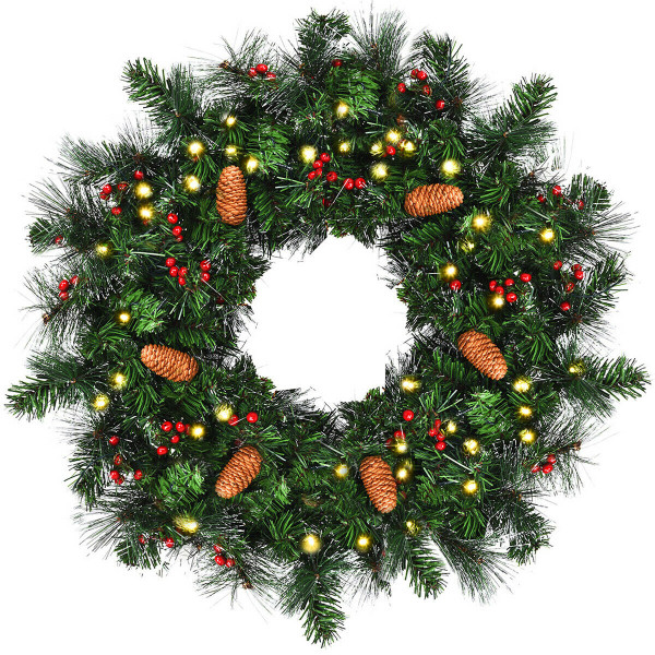 "24"" Pre-Lit Artificial Spruce Christmas Wreath CM22044"