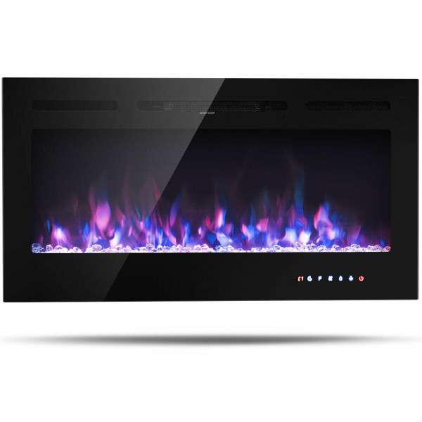 "40 "" Electric Fireplace Recessed Wall Mounted With Multicolor Flame EP24237"