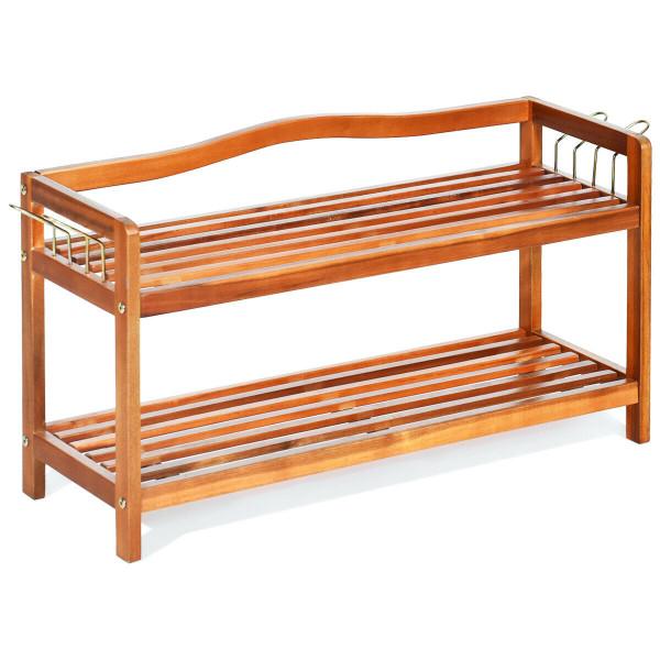 2-Tier Wood Shoe Rack Freestanding Shoe Storage Organizer HW62408