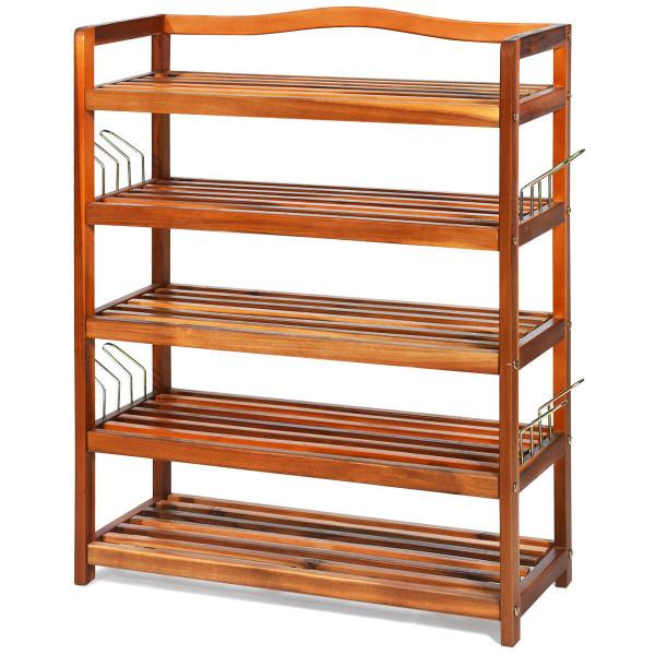 5-Tier Wood Shoe Rack Freestanding Shoe Storage Organizer HW62410