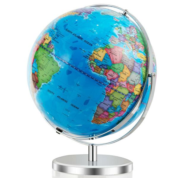 """13"""" Illuminated World Globe 720 Rotating Map With Led Light HW63198"""