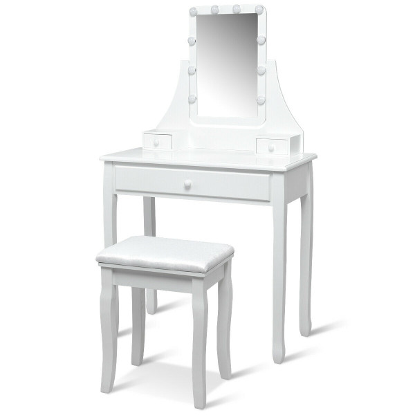 10 Led Lighted Mirror And 3 Drawers Vanity Table Set-White HW62335WH-US