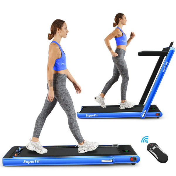 2 In 1 Folding Treadmill With Bluetooth Speaker Remote Control-Navy SP37146NY