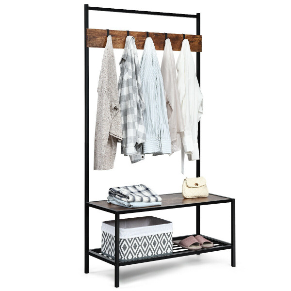 3 In 1 Industrial Coat Rack With 2-Tier Storage Bench And 5 Hooks-Coffee HW62864CF