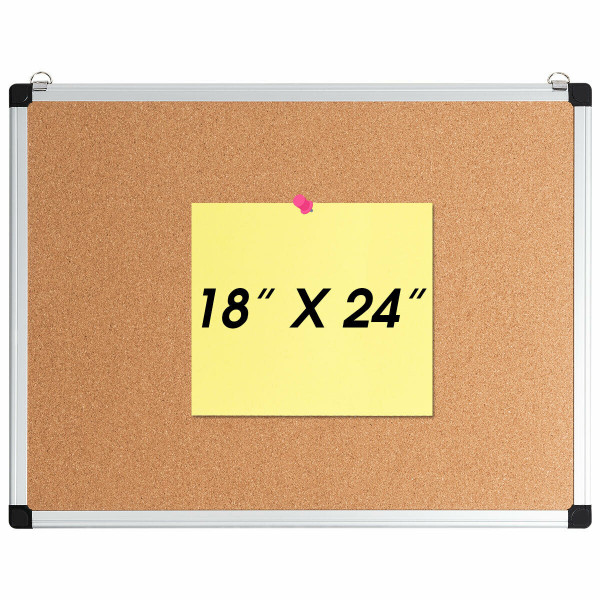 "1 Or 3 Pack 24"" X 18"" Cork Board Set With 10 Thumb Tacks-1 Pack ST39170"