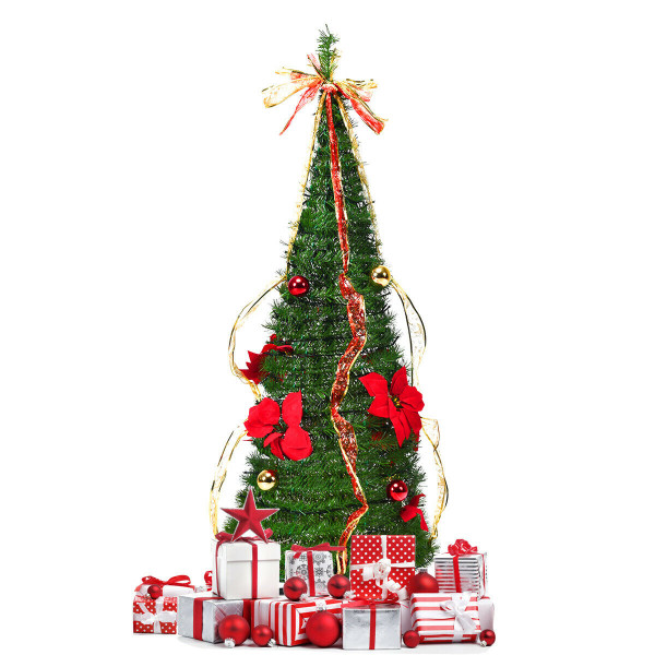 4 Ft Pre-Lit Spruce Christmas Tree With Bows And Ribbon CM22049