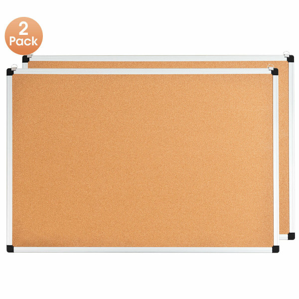 "24"" X 36"" Aluminum Framed Cork Board Bulletin Board With 12 Pins-2 Pack ST39171-2"