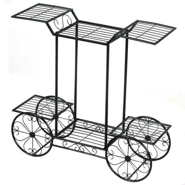 6-Tier Garden Cart Flower Rack Display Decor Pot Plant Holder GT3439