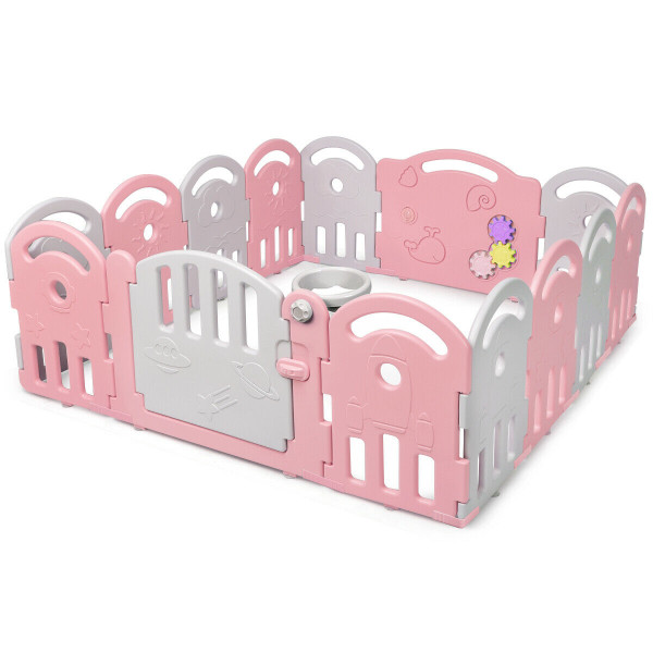 14-Panel Baby Playpen With Music Box & Basketball Hoop-Pink TY578757PI