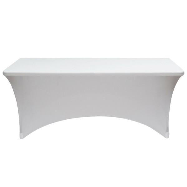 2Pcs 8 Ft Rectangular Spandex Wedding Tablecloth-White HT1064WH