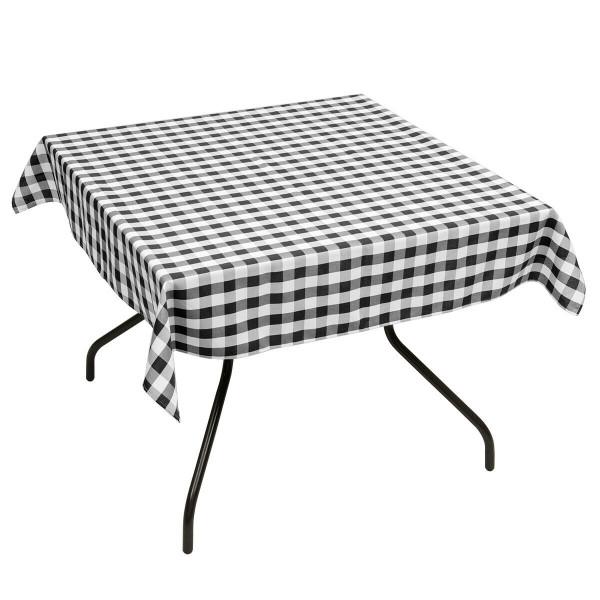 """10 Pcs 52"""" X 52"""" Square Polyester Plaid Dinner Tablecloth-Black HT1061BK"""