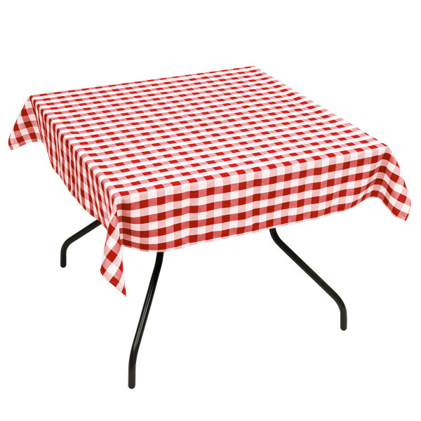 """10 Pcs 52"""" X 52"""" Square Polyester Plaid Dinner Tablecloth-Red HT1061RE"""