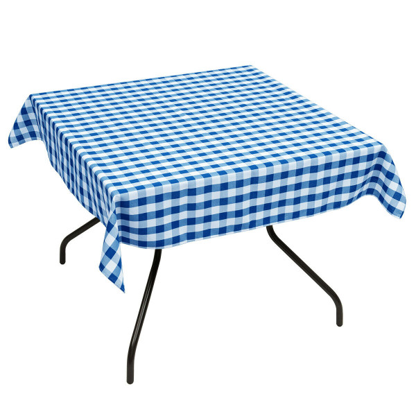"10 Pcs 52"" X 52"" Square Polyester Plaid Dinner Tablecloth-Blue HT1061NY"