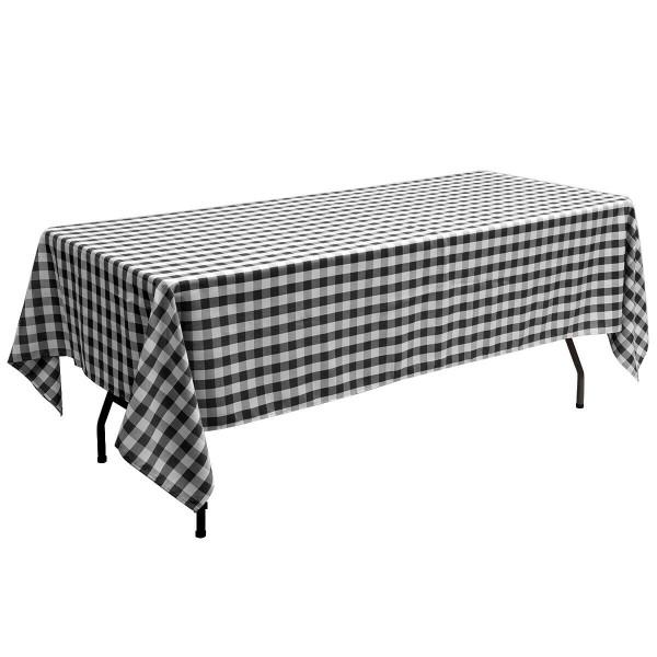 "10 Pcs 60"" X 102"" Rectangular Polyester Checker Kitchen Tablecloth-Black HT1059BK"
