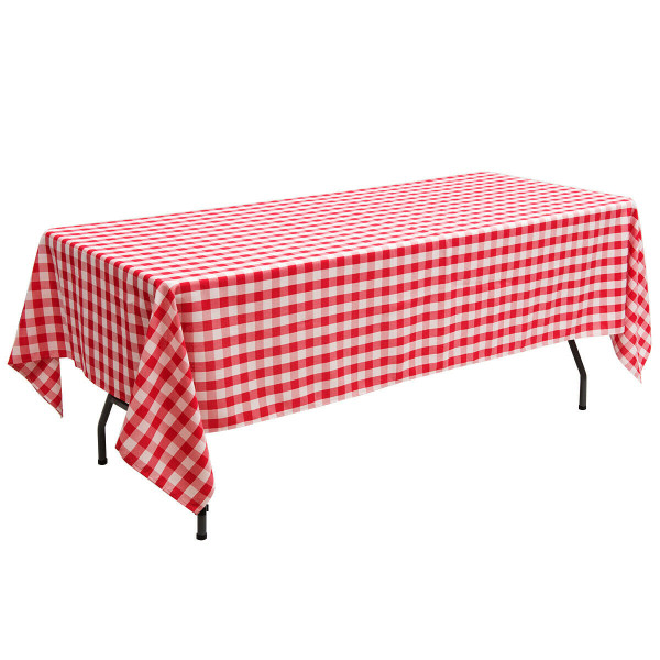 "10 Pcs 60"" X 102"" Rectangular Polyester Checker Kitchen Tablecloth-Red HT1059RE"