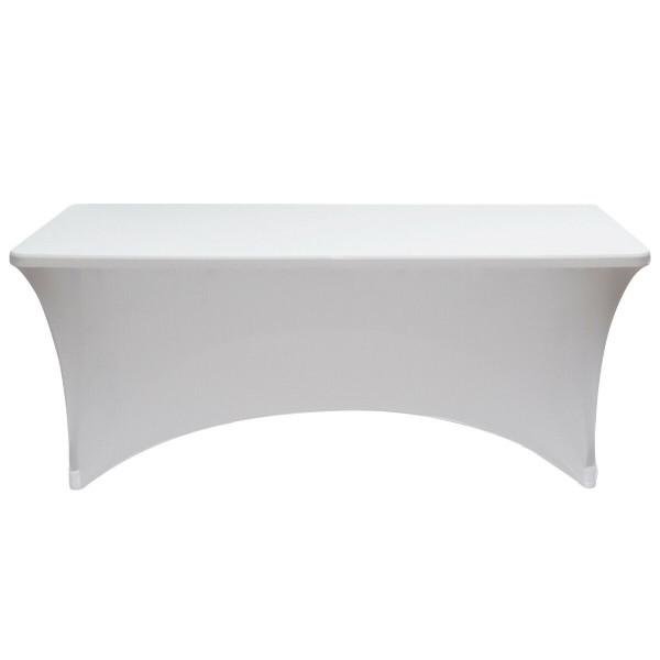 2 Pcs 6 Ft Rectangular Spandex Tablecloth Fitted Wedding-White HT1063WH