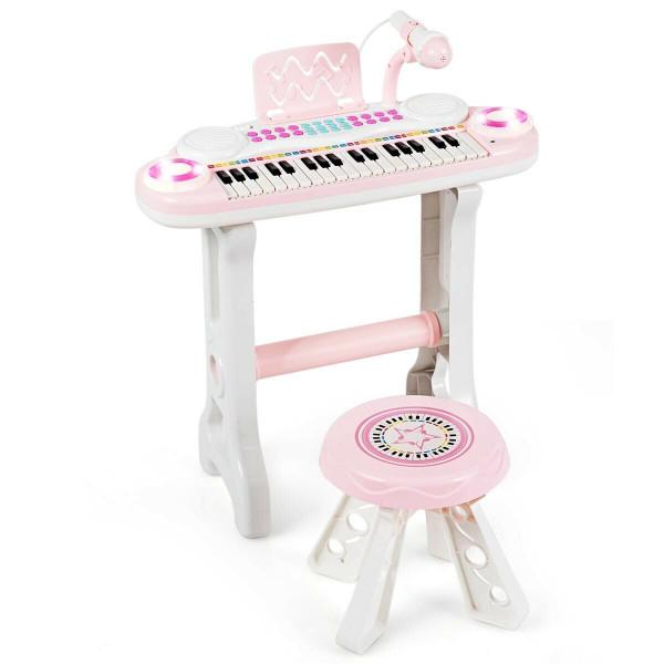 37-Key Kids Electronic Piano Keyboard Playset-Pink TY578768PI