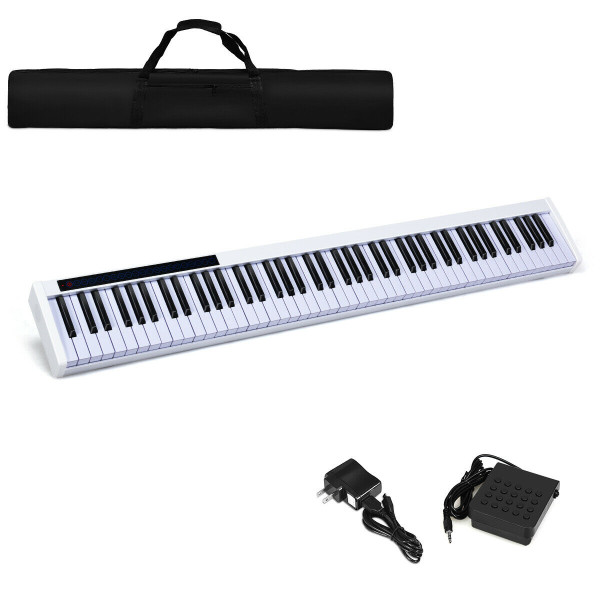 88-Key Portable Electronic Piano With Bluetooth And Voice Function-White TY579535WH