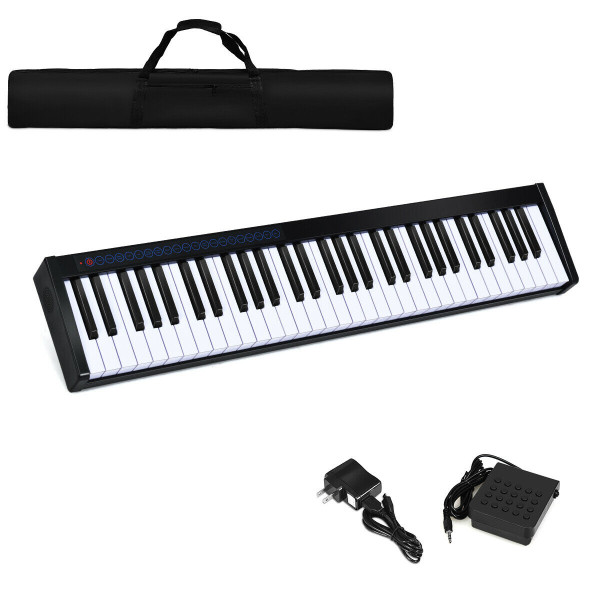 61-Key Portable Digital Stage Piano With Carrying Bag-Black MU70001US-BK