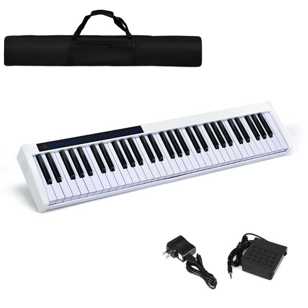 61-Key Portable Digital Stage Piano With Carrying Bag-White MU70001US-WH