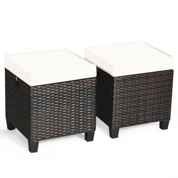 2 Pcs Patio Rattan Ottoman Cushioned Seat Foot Rest HW63237