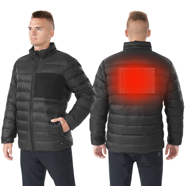 Electric Usb MenS Down Heated Jacket Thermal Stand Collar Coat-Black-Xxxl GM11902001BK-XXXL
