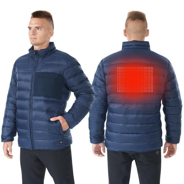 Electric Usb MenS Down Heated Jacket Thermal Stand Collar Coat-Navy-Xxxl GM11902001NY-XXXL