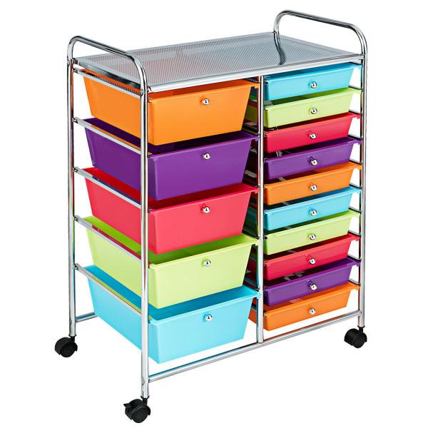 15-Drawer Utility Rolling Organizer Cart Multi-Use Storage-Deep Multicolor HW53825MT