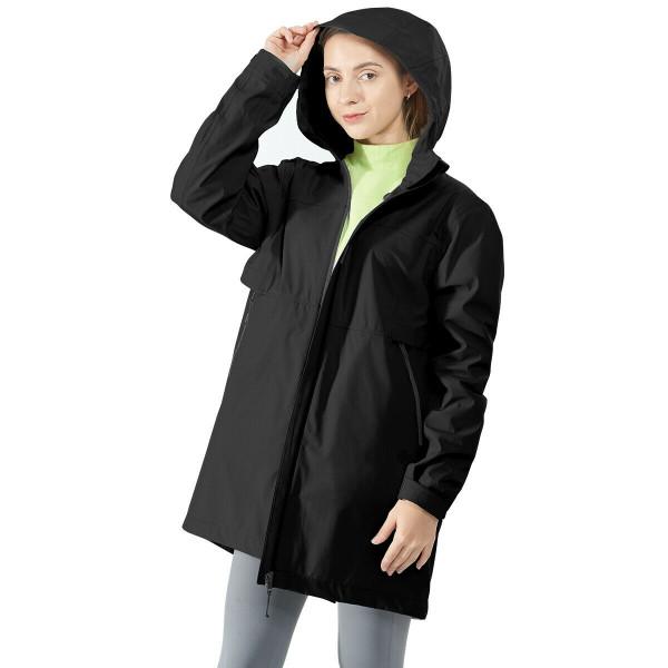 Hooded Women's Wind & Waterproof Trench Rain Jacket-Black-L GM21901009BK-L