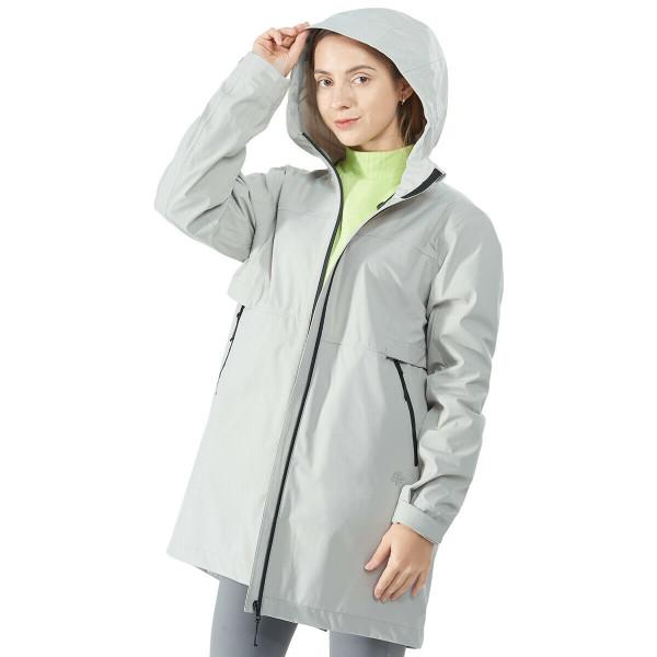 Hooded Women's Wind & Waterproof Trench Rain Jacket-Gray-L GM21901009GR-L