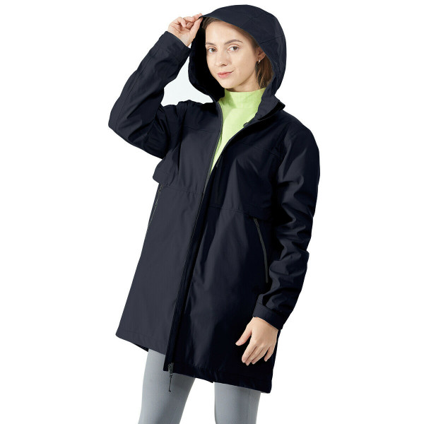 Hooded Women's Wind & Waterproof Trench Rain Jacket-Navy-L GM21901009NY-L