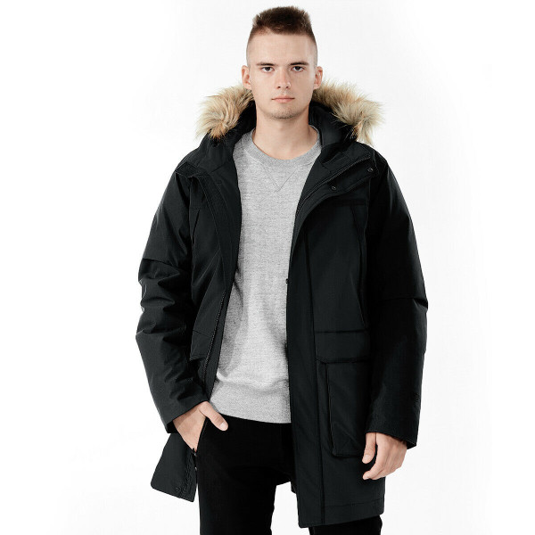 Men's Hooded Insulated Winter Puffer Parka Coat-Black-XXL GM11902004BK-XXL