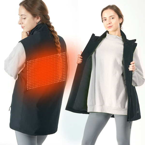 Men' & Women' Electric Usb Heated Sleeveless Vest-Black-M GM11903006BK-M