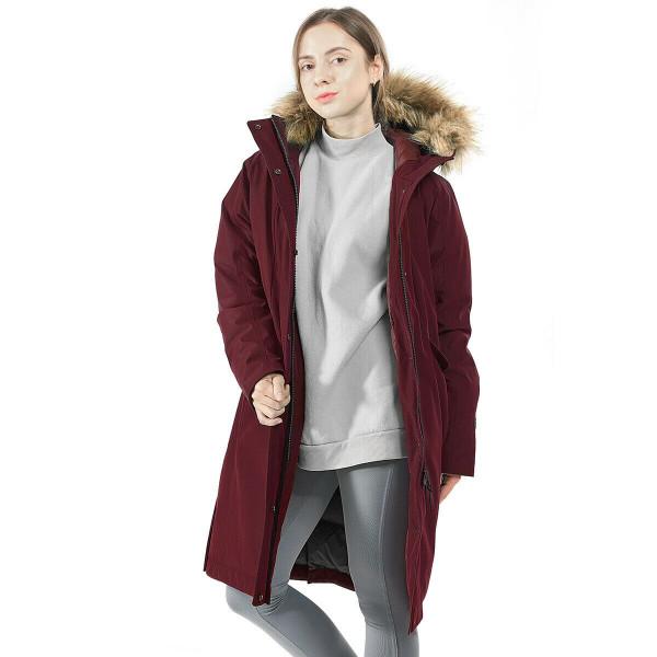Women's Hooded Long Down Coat With Faux-Fur Trim-Red-XXL GM21902005DW-XXL