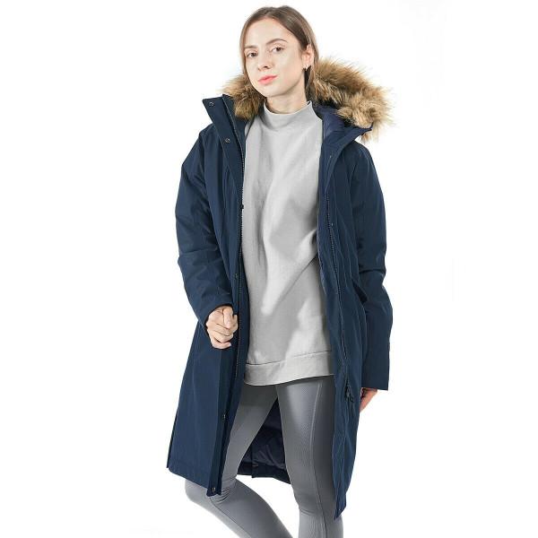 Women'S Hooded Long Down Coat With Faux-Fur Trim-Navy-Xxl GM21902005NY-XXL