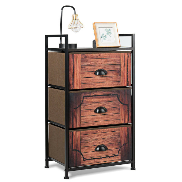 3 Drawer Fabric Dresser Storage Tower Nightstand HW63120