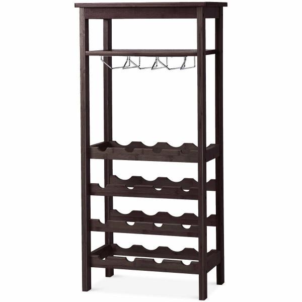 16 Bottles Bamboo Storage Wine Rack With Glass Hanger-Brown HW59431BR