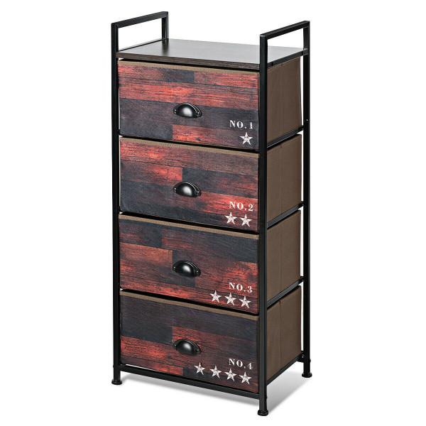 4 Drawer Fabric Dresser Storage Tower Nightstand HW63121