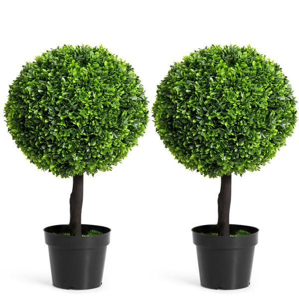 "2 Pcs 24"" Artificial Boxwood Topiary Ball Tree HW61435-2"