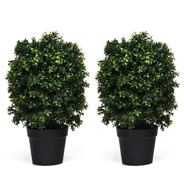 "2 Pcs 24"" Artificial Decoration Boxwood Topiary Ball Tree HW63836-2"