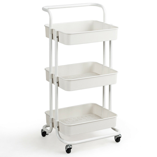 3-Tier Utility Cart Storage Rolling Cart With Casters-White HW70189WH