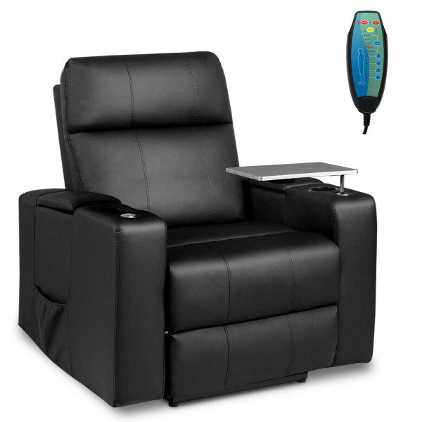 Massage Recliner Chair Seating With Swivel Tray&Remote Control-Black HW63732BK